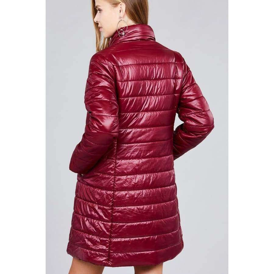 Burgundy Long Sleeve Quilted Long Padding Jacket - Jacket