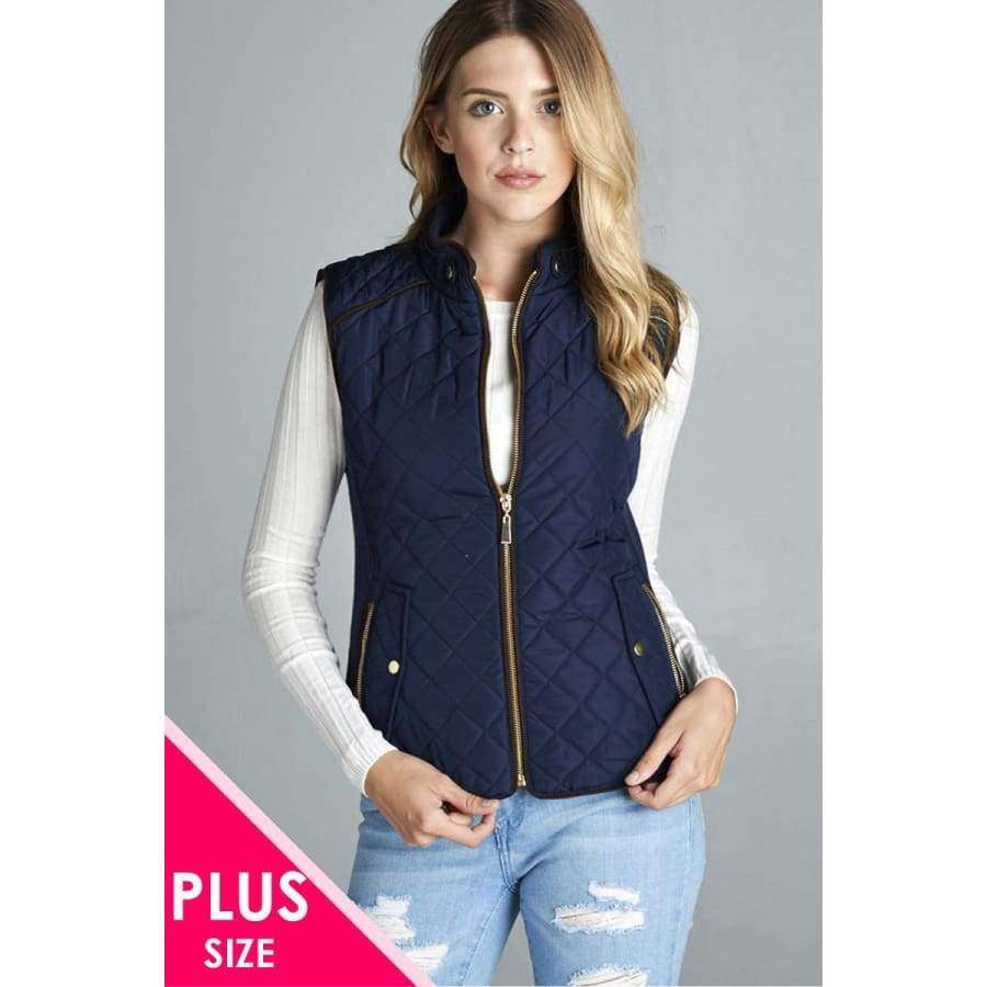 Dark Navy Quilted Padding Vest With Suede Piping Details (Curvy Sizes Only) - XL - Jacket