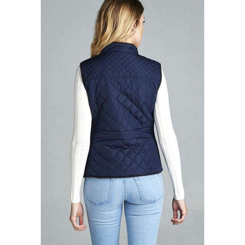Dark Navy Quilted Padding Vest With Suede Piping Details (Curvy Sizes Only) - Jacket