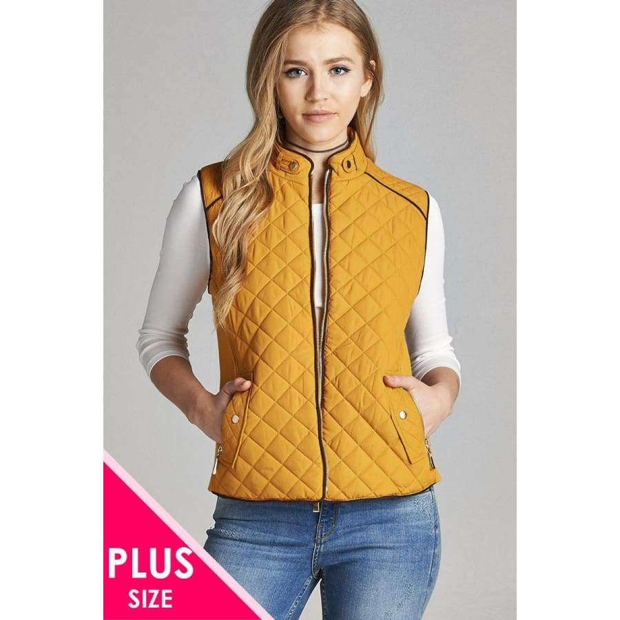 Dark Mustard Quilted Padding Vest With Suede Piping Details (Curvy Sizes Only) - XL - Jacket