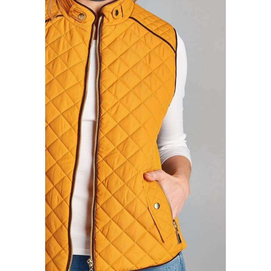 Dark Mustard Quilted Padding Vest With Suede Piping Details (Curvy Sizes Only) - Jacket
