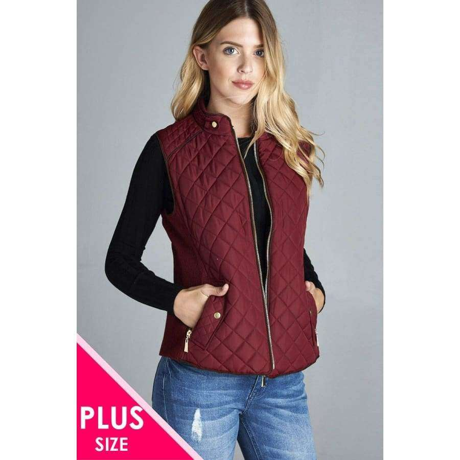 Burgundy Quilted Padding Vest With Suede Piping Details (Curvy Sizes Only) - XL - Jacket