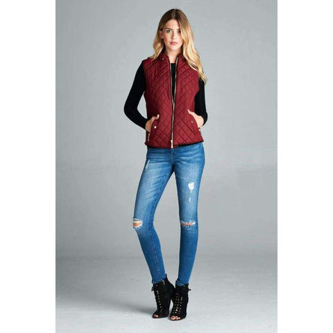 Burgundy Quilted Padding Vest With Suede Piping Details (Curvy Sizes Only) - Jacket
