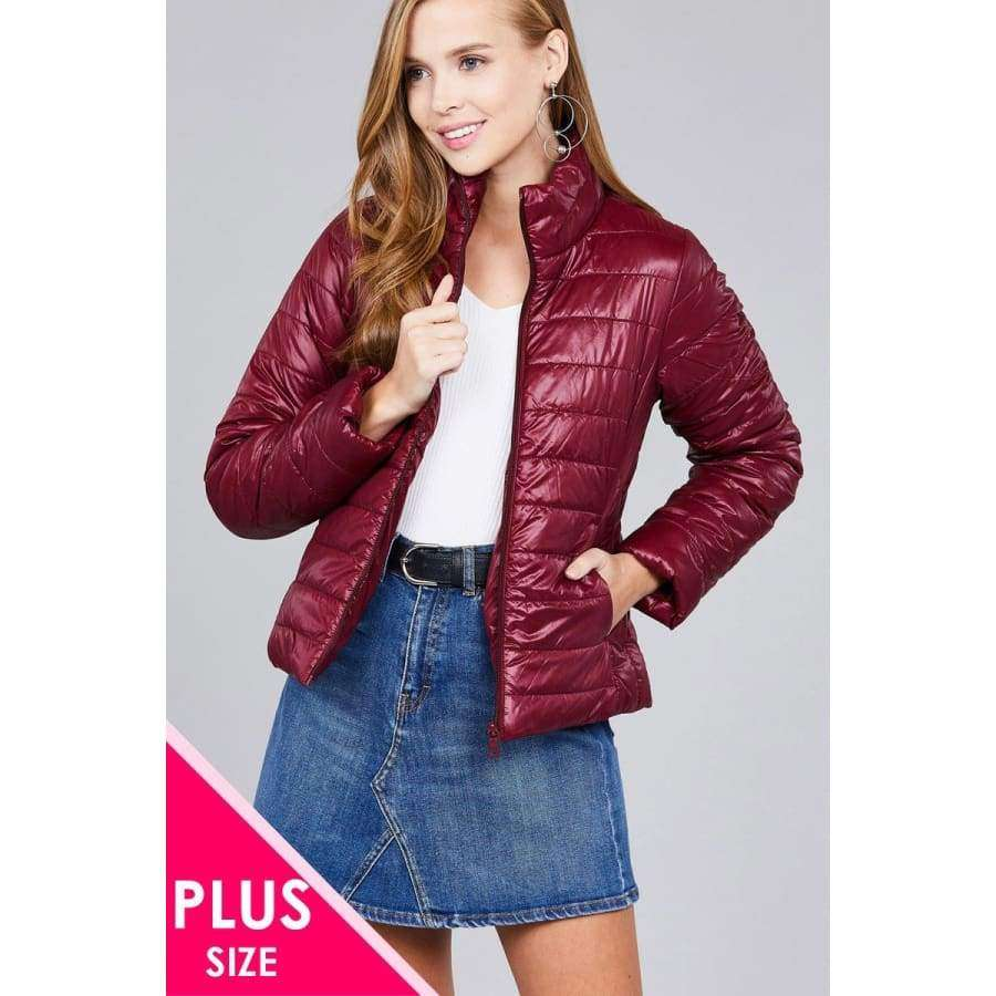 Burgundy Long Sleeve Quilted Padding Jacket (Curvy Sizes Only) - XL - Jacket