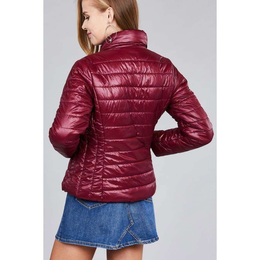 Burgundy Long Sleeve Quilted Padding Jacket (Curvy Sizes Only) - Jacket