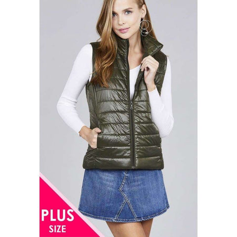 Olive Quilted Padding Vest (Curvy Sizes Only) - XL - Jacket