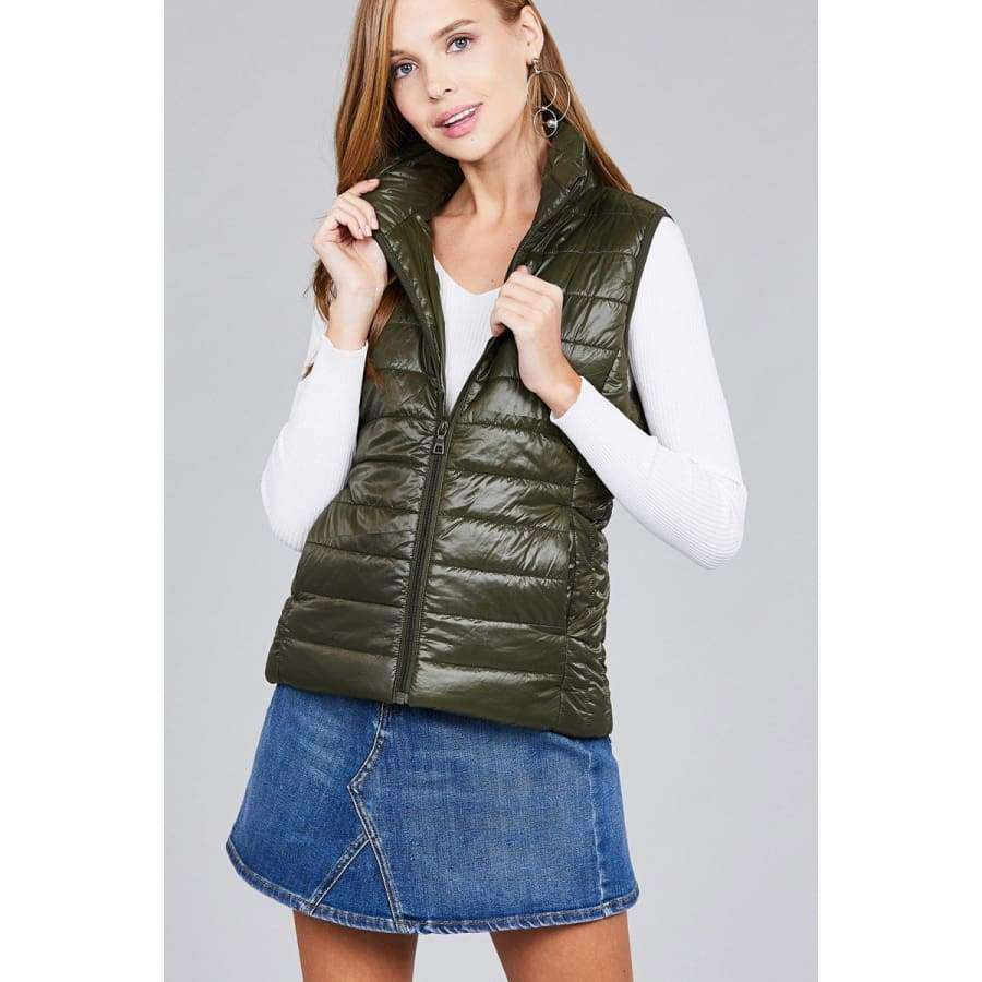Olive Quilted Padding Vest (Curvy Sizes Only) - Jacket