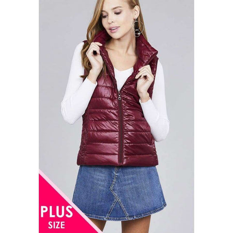 Burgundy Quilted Padding Vest (Curvy Sizes Only) - XL - Jacket