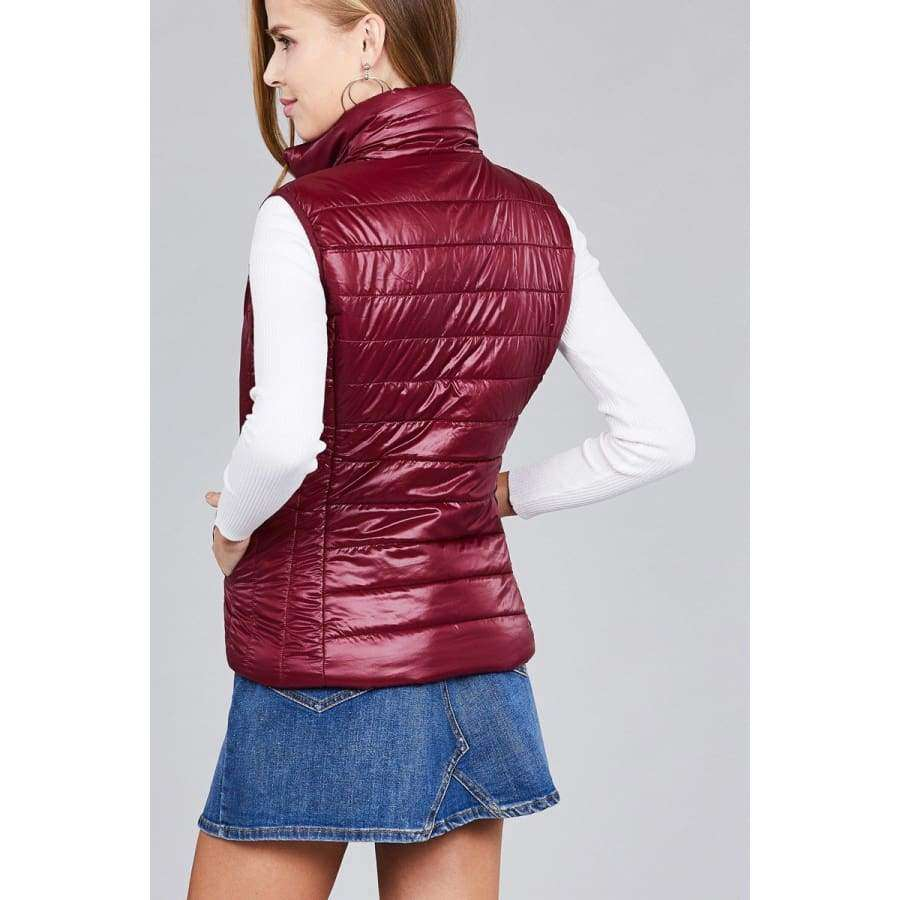 Burgundy Quilted Padding Vest (Curvy Sizes Only) - Jacket