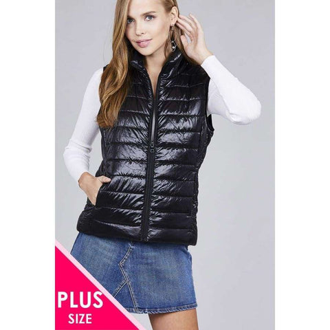 Black Quilted Padding Vest (Curvy Sizes Only) - XL - Jacket