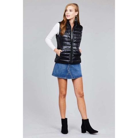 Black Quilted Padding Vest (Curvy Sizes Only) - Jacket