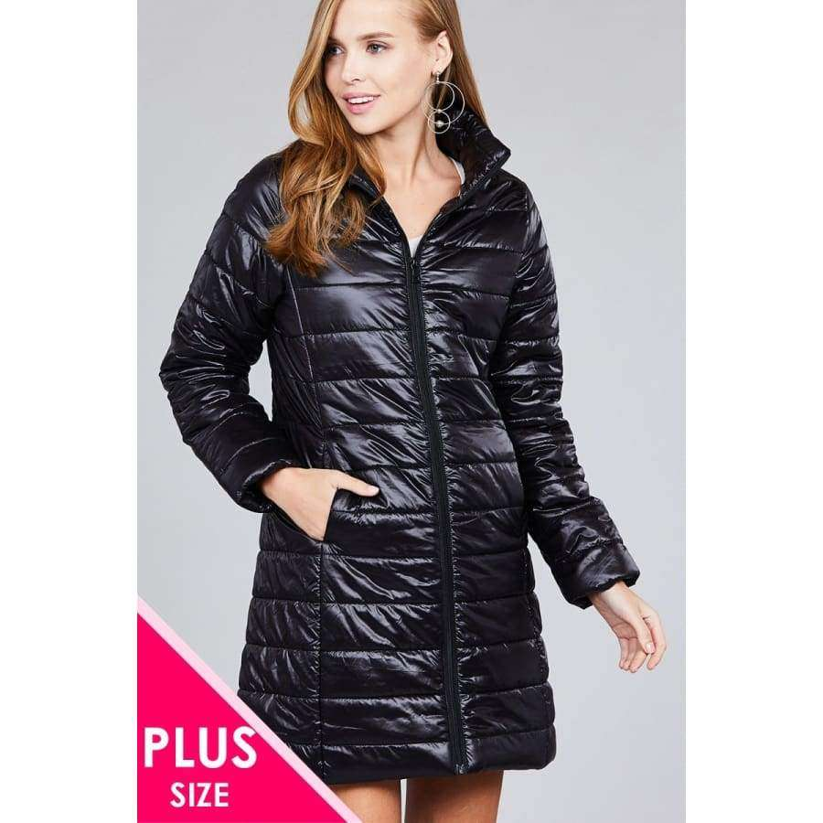 Black Long Sleeve Quilted Long Padding Jacket (Curvy Sizes Only) - XL - Jacket