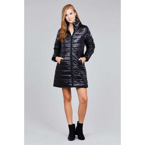 Black Long Sleeve Quilted Long Padding Jacket (Curvy Sizes Only) - Jacket