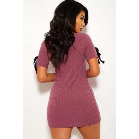 Solid Wide Rib Mauve Knit Scoop Neckline Short Sleeves Dress - Dress