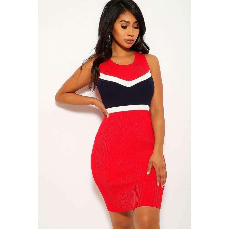 Red Color Block Sleeveless Two-Tone Stripe Dress - S - Dress