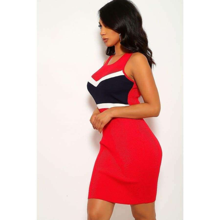 Red Color Block Sleeveless Two-Tone Stripe Dress - Dress