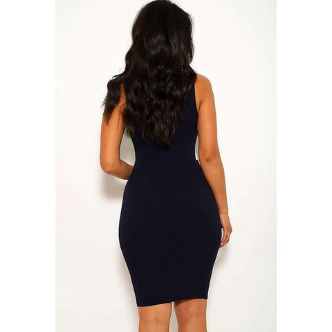 Navy Color Block Sleeveless Two-Tone Stripe Dress - Dress