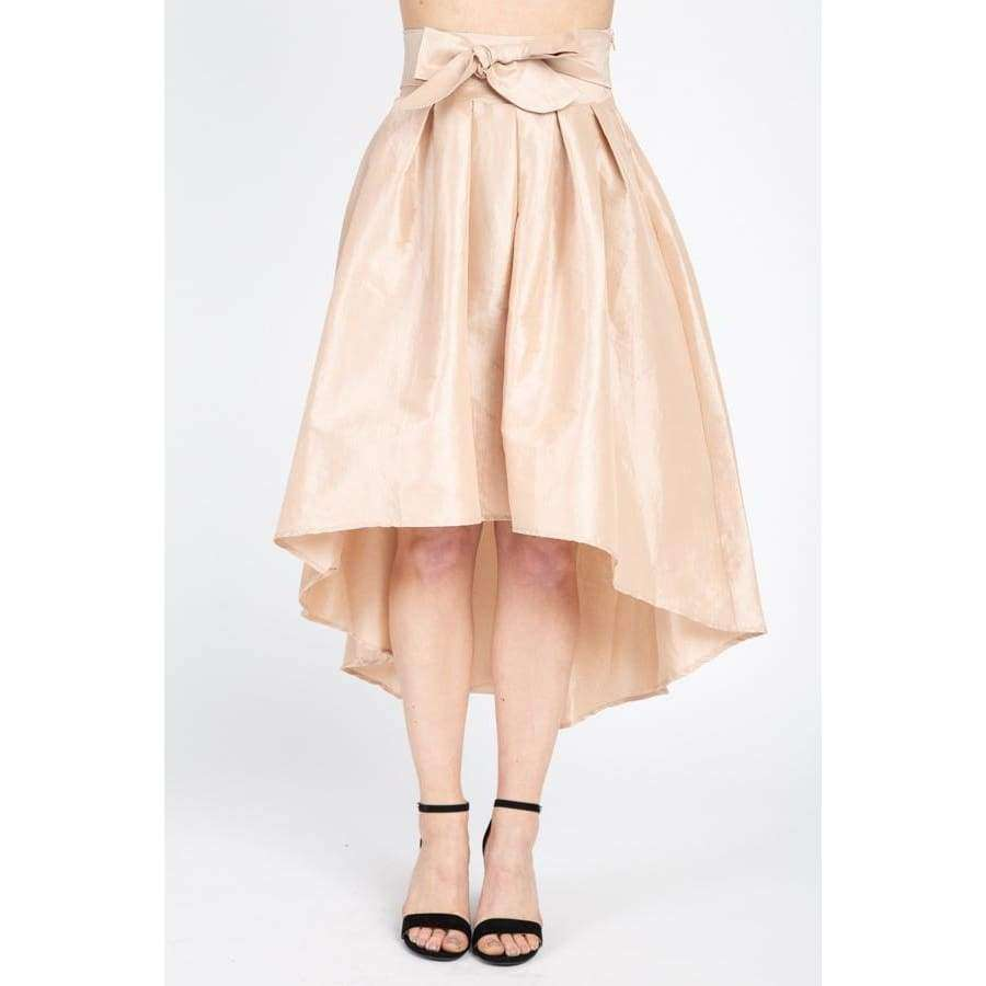 Taffeta Champagne High-Low Skirt - S - Skirt
