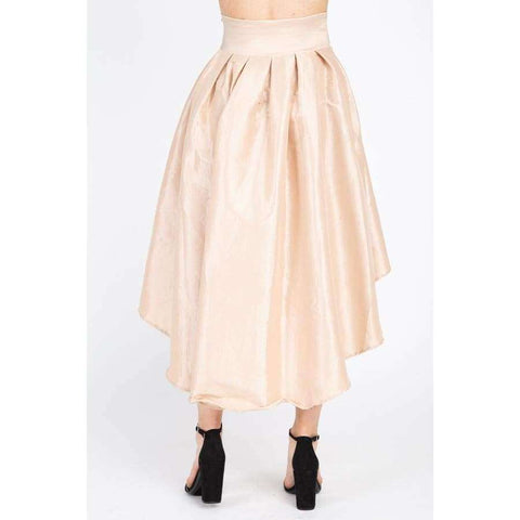 Taffeta Champagne High-Low Skirt - Skirt