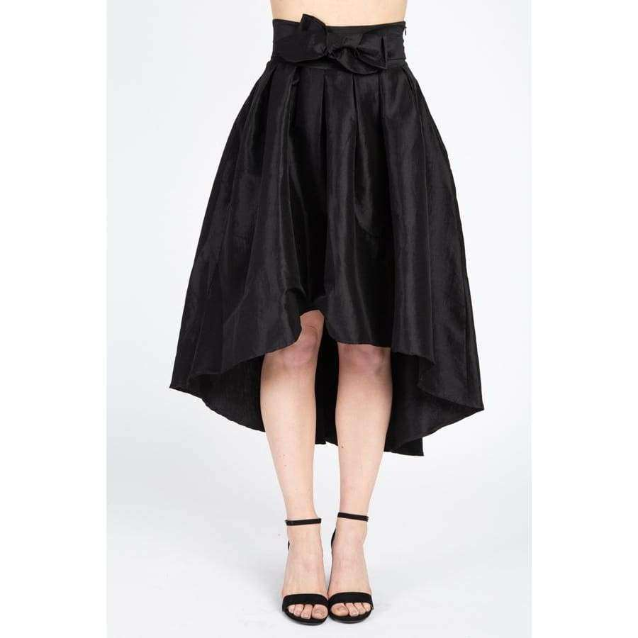 Taffeta Black High-Low Skirt - S - Skirt