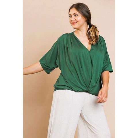 Hunter Green Short Bell Sleeve Basic V-Neck Top (Curvy Sizes Only) - XL - Top