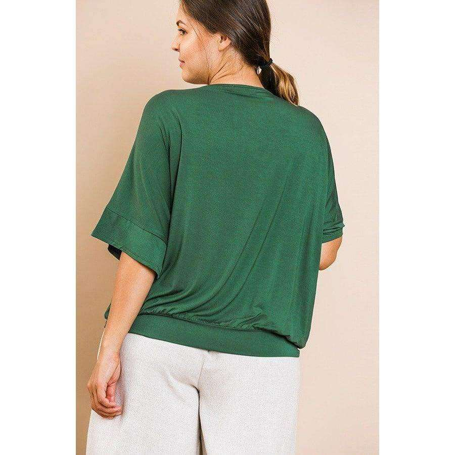Hunter Green Short Bell Sleeve Basic V-Neck Top (Curvy Sizes Only) - Top