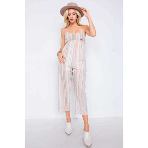 Multi Stripe Ribbon Shaped Front Smocking Back Jumpsuit