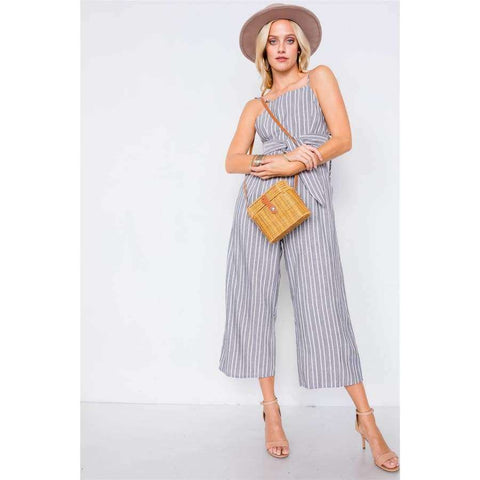 Black Stripe Front Tie Waist Band Open Back Jumpsuit - S - Jumpsuit
