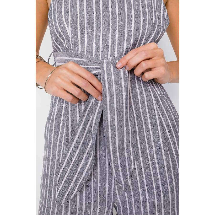 Black Stripe Front Tie Waist Band Open Back Jumpsuit - Jumpsuit