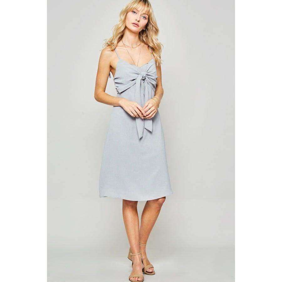 Dust Blue Woven Midi Dress - S - Dress