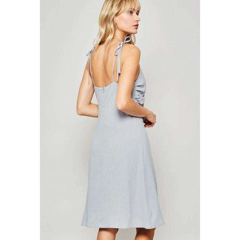 Dust Blue Woven Midi Dress - Dress