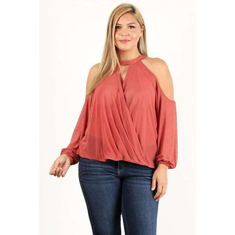 Mauve Solid Wrap Top With Cutouts and Puff Sleeves (Curvy Sizes Only) - 1XL - Top