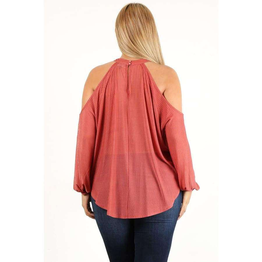 Mauve Solid Wrap Top With Cutouts and Puff Sleeves (Curvy Sizes Only) - Top