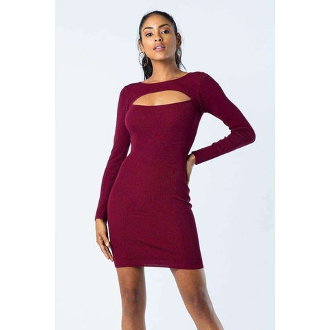 Wine Peek A Boo Dress - S - Dress