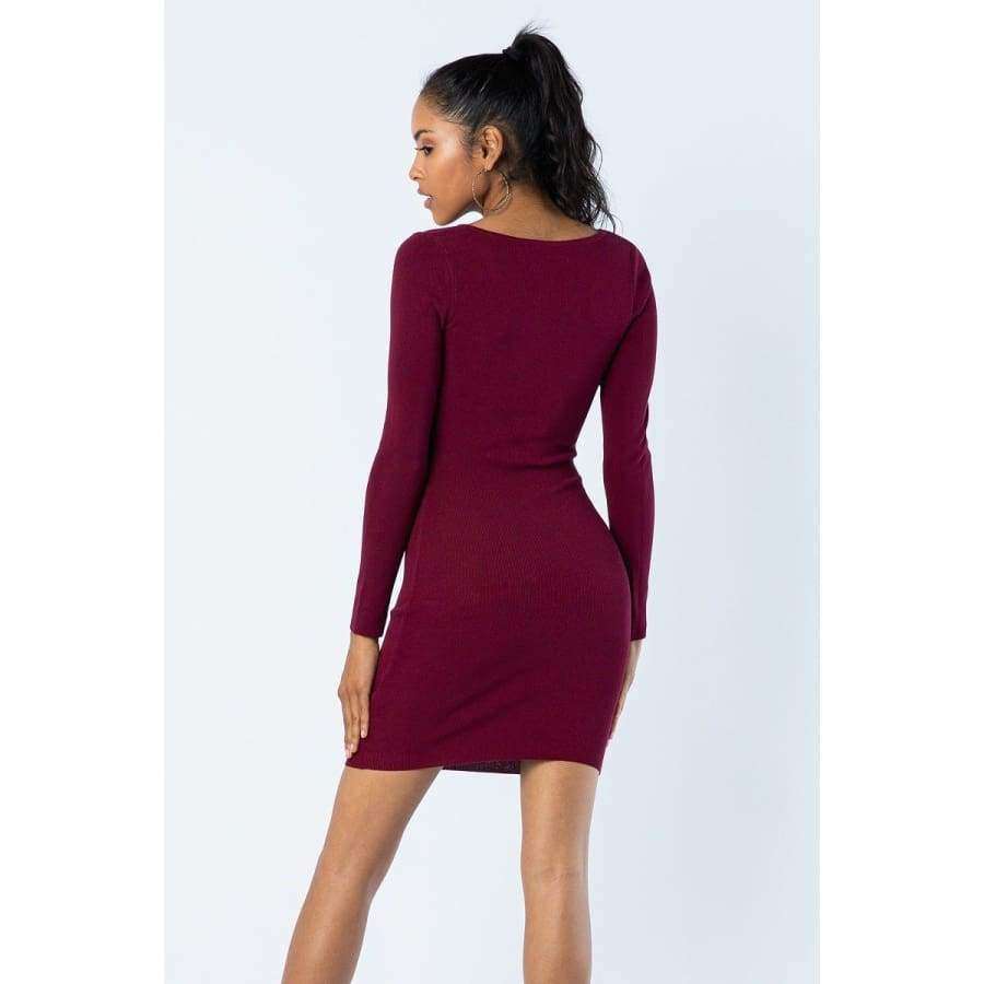 Wine Peek A Boo Dress - Dress