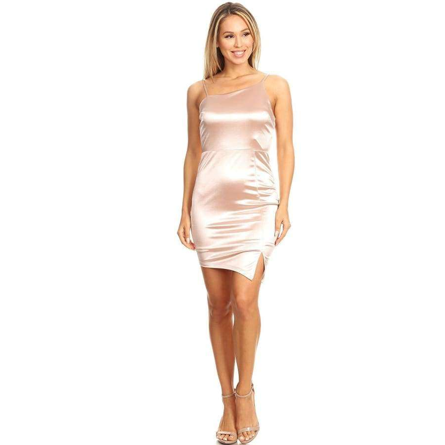 Blush Solid Bodycon Fit Mini Dress - S - Dress