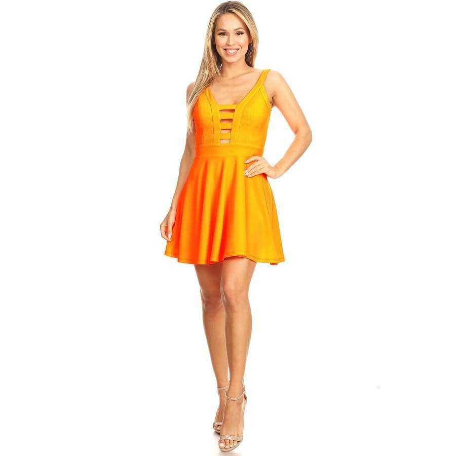 Orange Solid Fit Spaghetti Straps Flare Dress - S - Dress