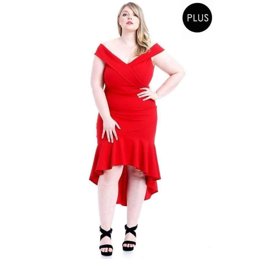 Red Techno Crepe Stretch Off The Shoulder Dress (Curvy Sizes Only) - 1XL - Dress