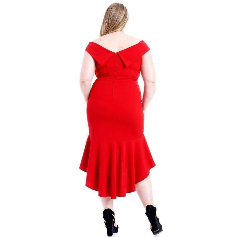 Red Techno Crepe Stretch Off The Shoulder Dress (Curvy Sizes Only) - Dress