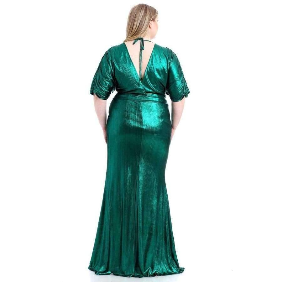 Green Metallic Ribbed Deep V-Neckline Dress (Curvy Sizes Only) - Dress