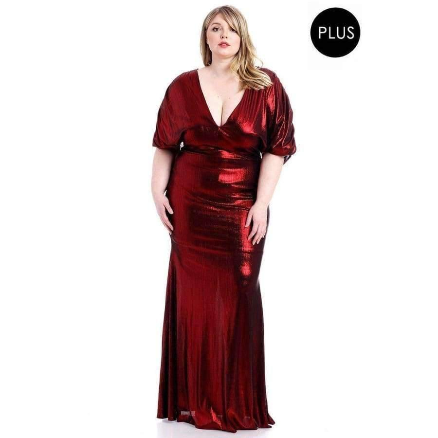 Red Metallic Ribbed Deep V-Neckline Dress (Curvy Sizes Only) - 1XL - Dress