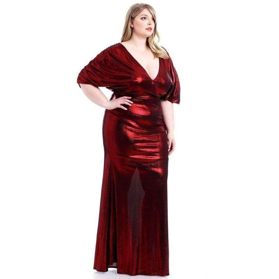 Red Metallic Ribbed Deep V-Neckline Dress (Curvy Sizes Only) - Dress