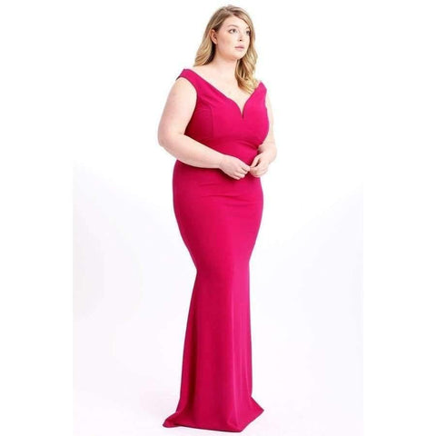 Very Berry Techno Crepe Stretch Off The Shoulder Dress (Curvy Sizes Only) - Dress