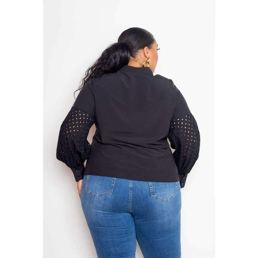 Black Blouse w/Punched Sleeves (Curvy Sizes Only) - Blouses & Shirts