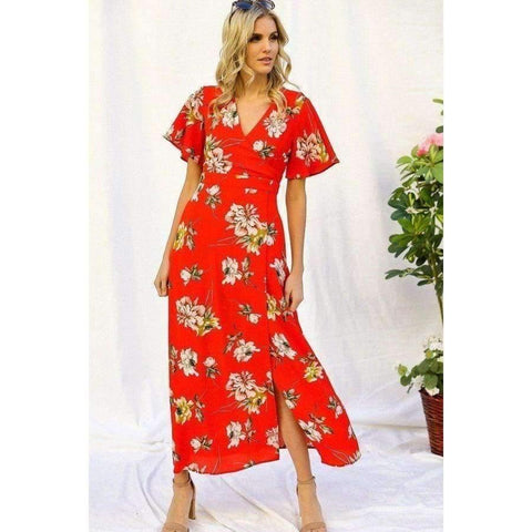 Red Spring Floral Print Short Bell Maxi Dress - S - Dress