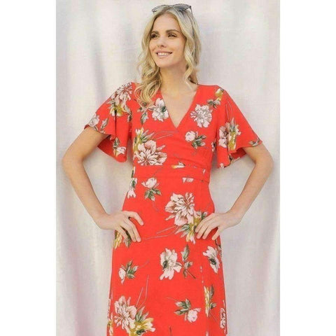 Red Spring Floral Print Short Bell Maxi Dress - Dress