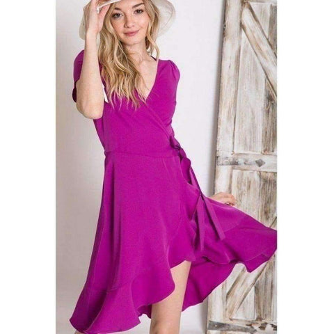 Berry Solid Basic Tulip Overlay Dress - S - Dress