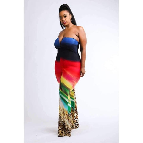 Multi Printed Tube Jumpsuit (Curvy Sizes Only) - Distinctive Woman