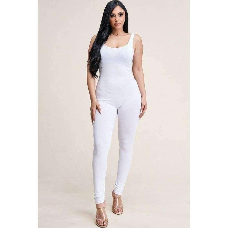 White Solid Basic Jumpsuit - S - Jumpsuit