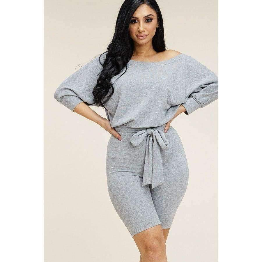 Heather Grey Slouchy Solid French Terry Romper - S - Rompers